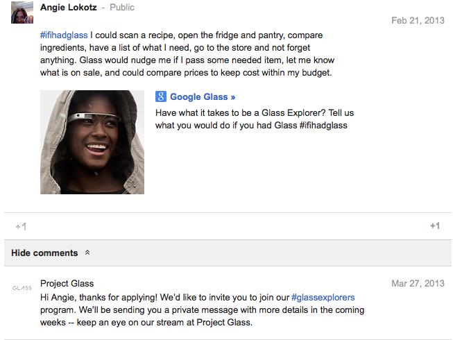 Screen shot of #glassexplorer acceptance by Google Glass