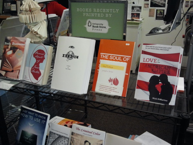 Sample titles printed on the Espresso Book Machine at UW-Seattle Bookstore show a range of sizes and styles